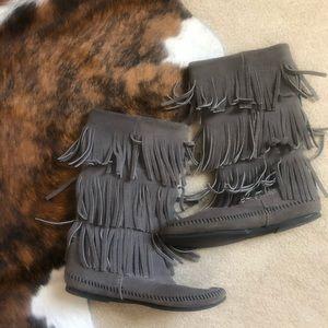 Grey Minnetonka Boots